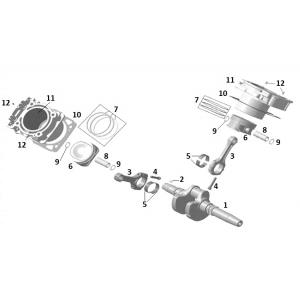 Поршень, цилиндр и коленчатый вал (двигатель)